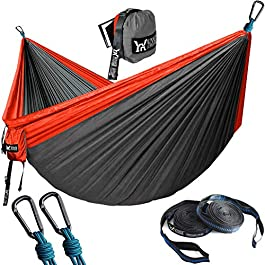WINNER OUTFITTERS Double Camping Hammock with Straps – Lightweight Nylon Portable Hammock, Best Parachute Double Hammock…