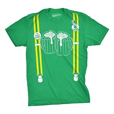 Mens Suspenders Beer Mugs Im Irish Tonight Pin Funny St. Patrick's Day T shirt