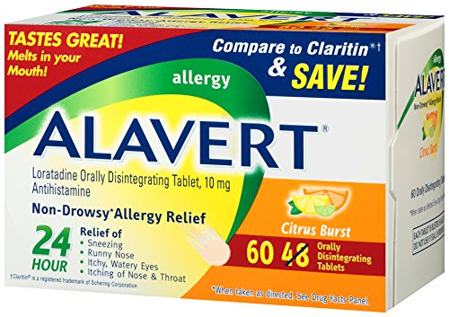 Alavert Allergy 24-Hour Relief (60 Count Citrust Burst Flavor Orally Disintegrating Tablets), Non-Drowsy, - Orally Tablets Alavert Disintegrating