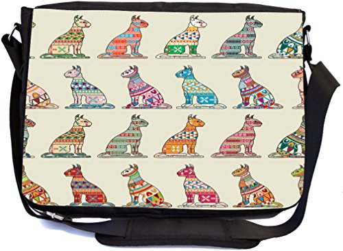 Rikki Knight Tribal Pattern Cats Colorful Illustration Design Multifunctional Messenger Bag - School Bag - Laptop Bag - with padded insert for School or Work - Includes Matching Compact Mirror