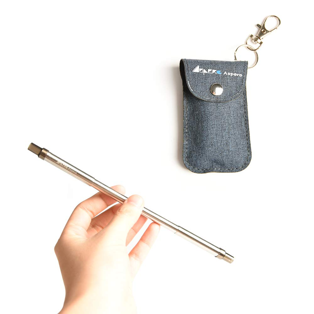 ASPERO Expandable and Retractable Stainless Steel Straws Metal Drinking Straws Length of 8.3 inch Reusable Straws Keychain with Cleaning Brush [Thin-Dark Gray]