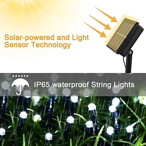 Solar Outdoor String Lights- 100 LED 8 Modes String Lights, 2-Pack Solar Garden Lights, Decoration Lights Waterproof Fairy Lights for Tree, Patio, Home, Yard, Party, Wedding (39FT, Cool White)