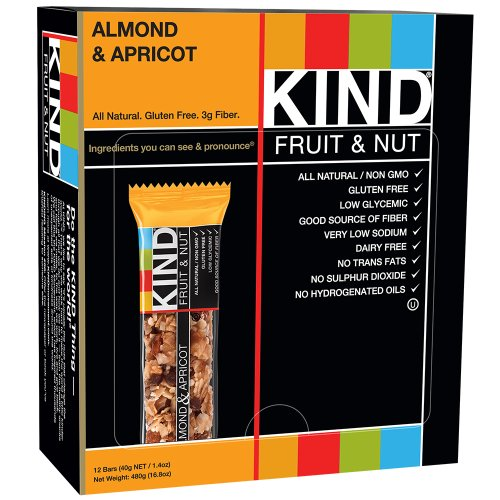 KIND Bars, Almond & Apricot, Gluten Free, Low Sugar, 1.4oz, 12 Count