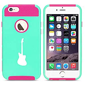 Apple iPhone 5 5s Shockproof Impact Hard Case Cover Bass Guitar (Light Blue-Hot Pink)