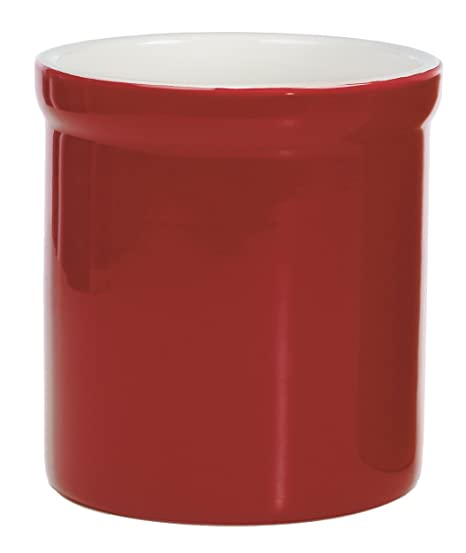 Progressive  Prepworks Ceramic Tool Crock   Utensil Kitchen Organizer   Red