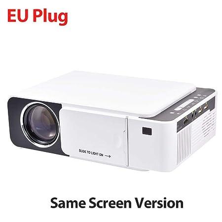Proyector, mini proyector de video LCD portátil T5 2600 lúmenes 4K ...