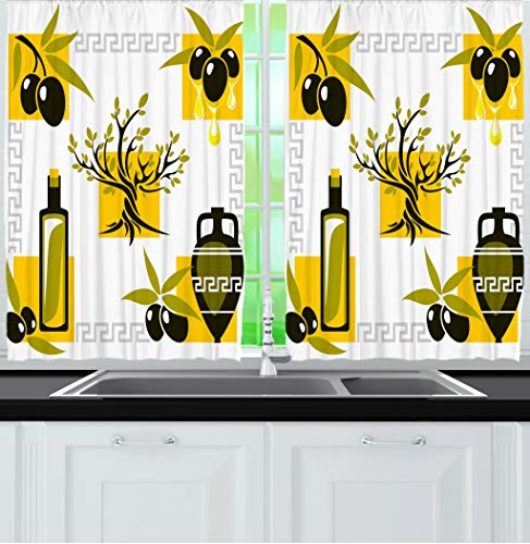ome Decor Kitchen Curtains, Greek Patterned Olive Tree Mediterranean Style, Window Drapes 2 Panels Set for Kitchen Cafe, 55W X 39L Inches, Olive Green Earth Yellow and Grey ()