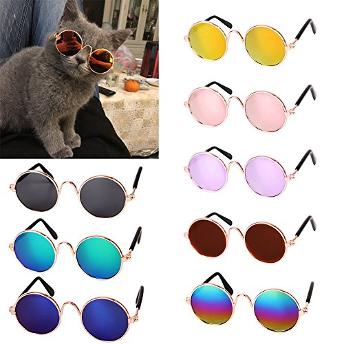 (PanDaDa Cool Stylish Pet Sunglasses Dog Cat Eye Protection Funny Cute Round Sunglasses)