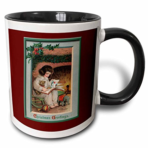 (3dRose BLN Vintage Christmas Designs - Christmas Greeting Little Girl Reading a Book in front of a Fireplace trimmed With Holly and Berries - 15oz Two-Tone Black Mug (mug_153518_9))