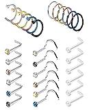 FIBO STEEL 24 Pcs 20G Stainless Steel Hoop Nose Rings Screw Stud Rings Piercing Jewelry Colored CZ Inlaid