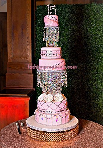 Crystal Wedding Cake Stand, 2 Crystals Cake Stand