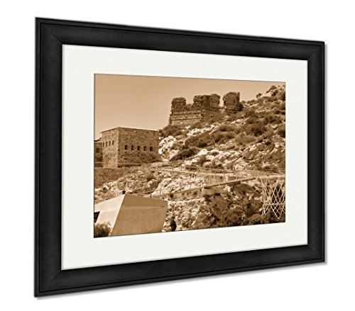 Ashley Framed Prints Embankment And Fort Christmas On A Sunny Summer Day Cartagena Spain, Wall Art Home Decoration, Sepia, 30x35 (frame size), Black Frame, AG6515773 by Ashley Framed Prints
