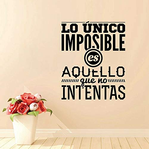 Bidsu Wall Decal Quote Words Lettering Decor Sticker Wall Vinyl Spanish Quote Wall Decal lo Unico Imposible ES aquello que no intentas Wall Sticker for Living Room Bedroom