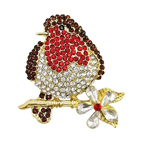 - LAXPICOL Lovely Red Bird Flower Austrian Crystal Brooch Pin for Women Girls Gold Tone