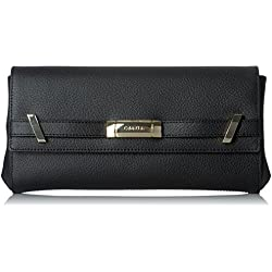 Calvin Klein Brooke Tumbled Leather Clutch, Black/Gold
