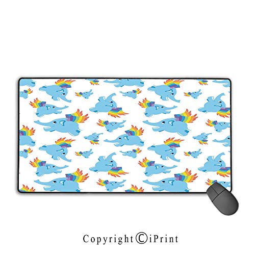 Extended gaming mouse pad with stitched edges,Nursery,Blue Colored Elephants with Rainbow Wings Superhero Animal Cute Happy Design Decorative,Blue Multicolor, Suitable for offices and homes,9.8