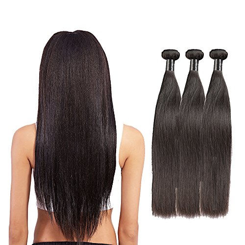 Brazilian Straight Hair 3 Bundles 8A  Grade, Borchan Virgin Human Hair Extensions  Remy Hair, 100% Unprocessed Natural Color Weft(20 22 24 inches) by Borchan