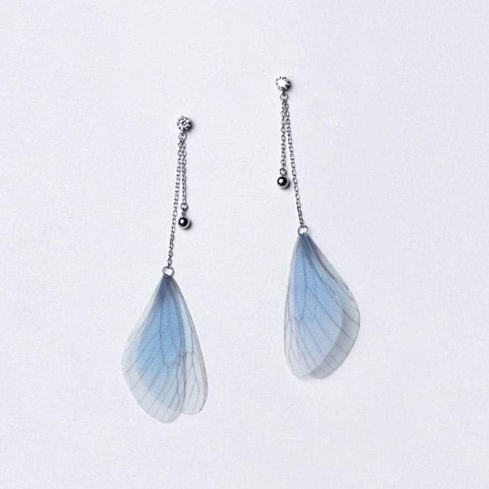 WOZUIMEI S925 Pendientes de Plata Estilo de Arte Coreano Femenino Diamante Alas Azules Pendientes Temperamento Cuentas de Luz FemeninaUn par