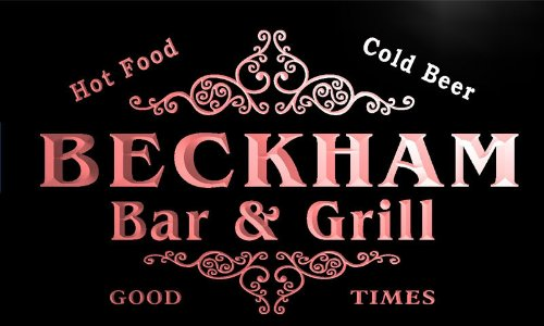 u02869-r BECKHAM Family Name Bar & Grill Cold Beer Neon Light - Beckham Family