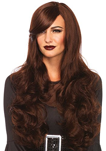 Halloween Express Wigs (Leg Avenue Women's Long Wavy Wig, Brown, One Size)