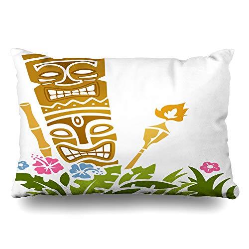 Ahawoso Throw Pillow Cover King 20x36 Torch Tiki Statue Stencil Party Hawaiian Clip Polynesian Bright Design Zippered Cushion Case Home Decor Pillowcase