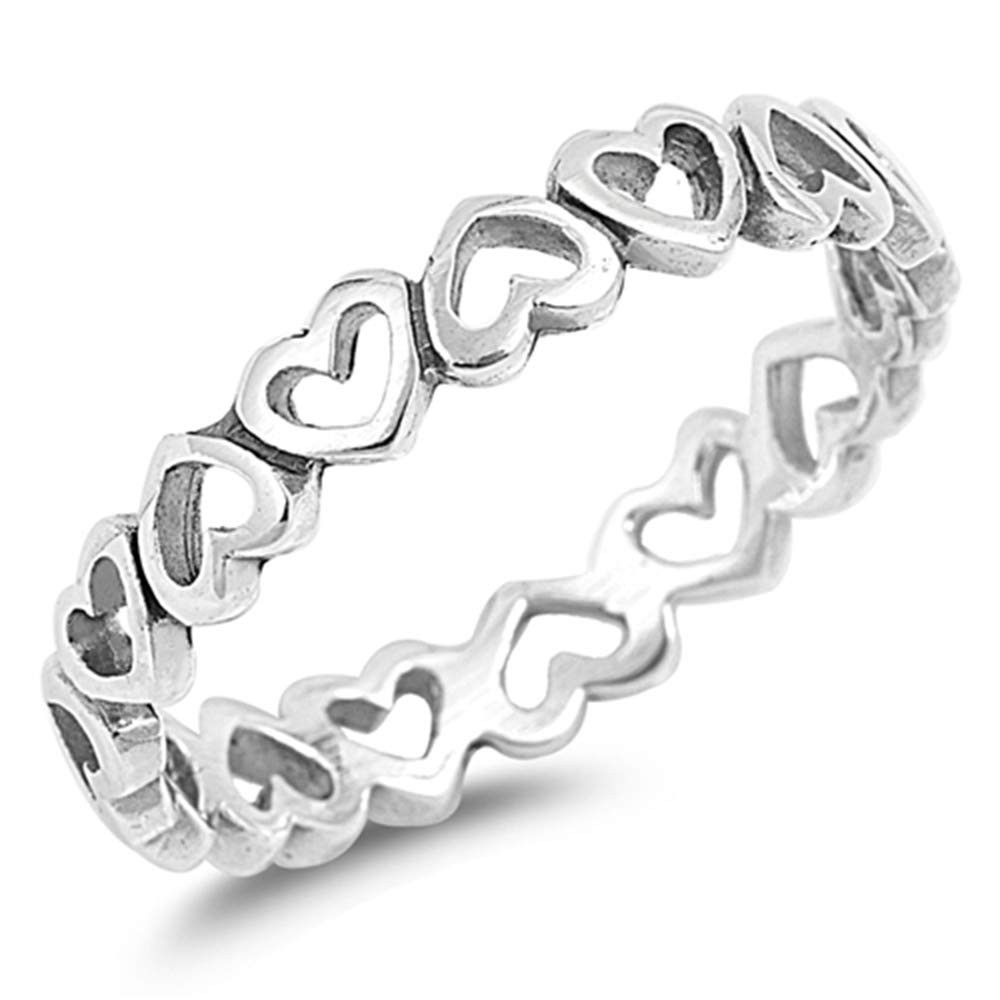 Oxford Diamond Co Plain Heart Band .925 Sterling Silver Ring...