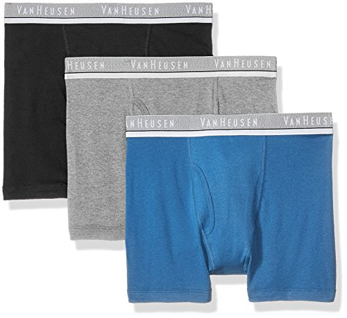 Van Heusen Men's Standard 3pk Cotton Boxer Brief, Black/Federal Blue/Heather Grey, Extra Large