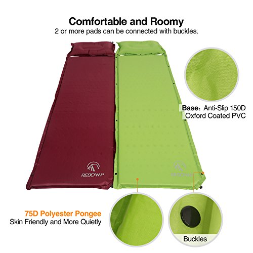 REDCAMP Self Inflating Sleeping Pad with Pillow for Backpacking | Lighweight, Ultralight, Compact, Foldable & Insulated Sleeping Mat For Women, Men & Adults | Great For Camping, Hiking, Green