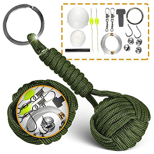 Paracord Keychain Lanyard Tactical Bushcraft Survival Gear #1 Best Flint Fire Starter for Bug Out Bag (Army Green) -