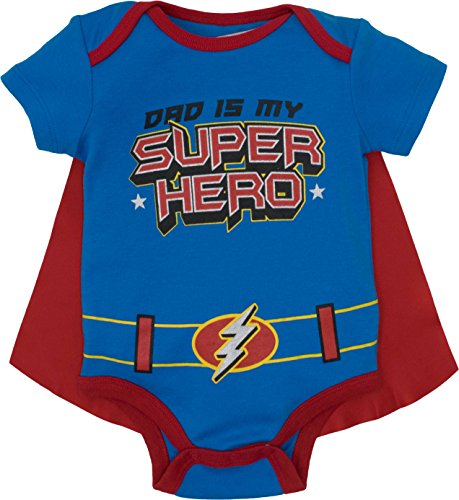 Funstuff Father's Day Super Hero Dad Infant Baby Boys' Onesie & Cape, Blue (3-6 - Onesie Like Baby