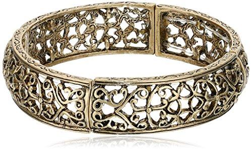 1928 Jewelry Brass Vines Filigree Stretch Bracelet