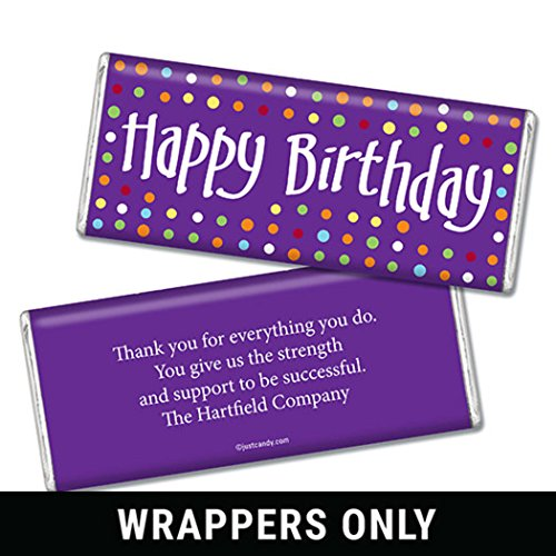 Birthday Personalized Chocolate Bar Wrappers - Polka Dot (25 Count Wrappers) Purple]()