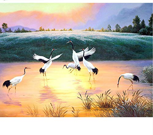 Full Square Drill Diamond Painting Cross Stitch Egrets Diamond Embroidery Mosaic Decoration 40x50 cm