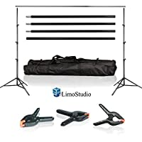 LimoStudio Photo Video Studio 10Ft Adjustable Muslin Background Backdrop Support System Stand with 3pcs Backdrop Support Spring Clamp, AGG1114V2