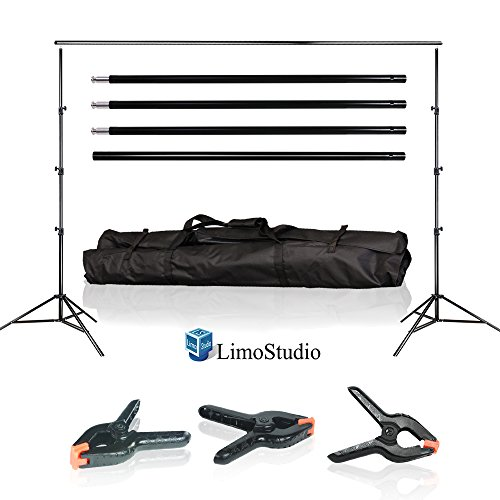 LimoStudio Photo Video Studio 10Ft Adjustable Muslin Background Backdrop Support System Stand with 3pcs Backdrop Support Spring Clamp, AGG1114V2 by LimoStudio