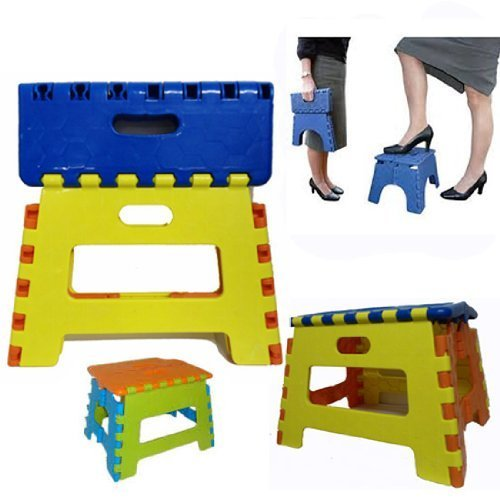 Great Ideas Easy Folding Space Saving Sturdy STEP STOOL - For Children,Home, Garden, DIY, Decorating and Car - No Need for Ladders