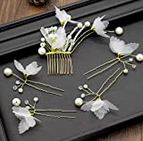 Hitommy Beautiful White Crepe Butterfly Hairpin Hair Comb Kit Korean Handmade Bride Wedding Wedding Dress Accessories