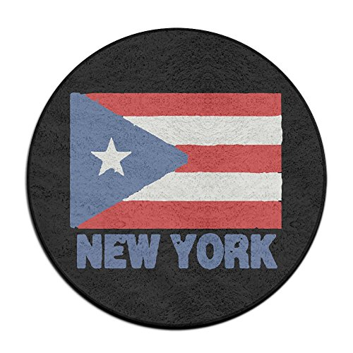 DIANDI-9 New York Puerto Rico Flag Non-slip Round Outdoor Patio Rugs For Kitchen Entrance Rug
