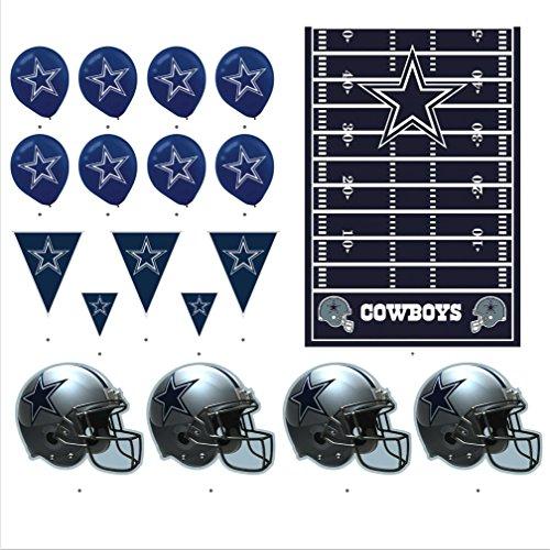 - Dallas Cowboys Football Decorations: Wall Helmet Cutouts, Balloons, Pennant Banner & Table Cover
