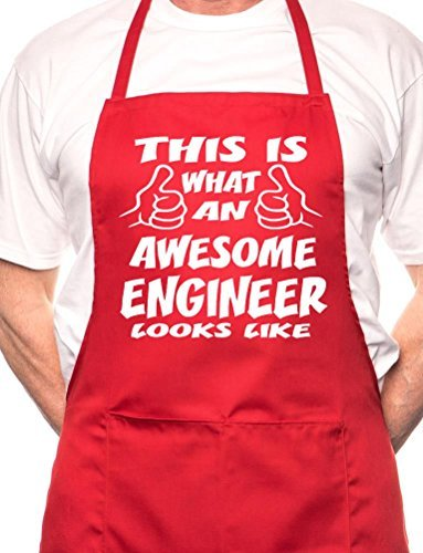 Print4u Awesome Engineer Looks Like BBQ Cooking Funny Novelty Apron (Engineer Bbq Funny Apron)