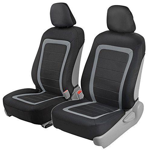 Advanced Performance Car Seat Covers - Instant Install Sideless Front Seat Protector Pair - Modern Honeycomb Accent Black & Gray