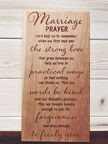 Marriage Prayer Wall Plaque Laser Engraved Personalized Custom Sign 105 by SignsByAllSeasons