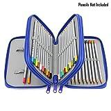 BTSKY® Handy Portable Colour Pencil Case-- 48 Slots Watercolor Pencil Bag with Zipper (Blue)