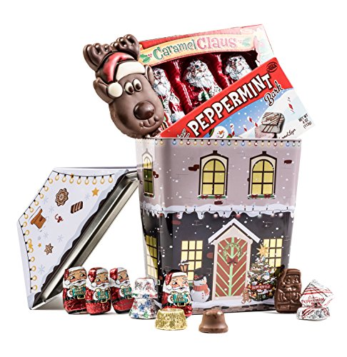 Caramel Claus Collectable Christmas Tin with Assorted Character Candy gift for kids