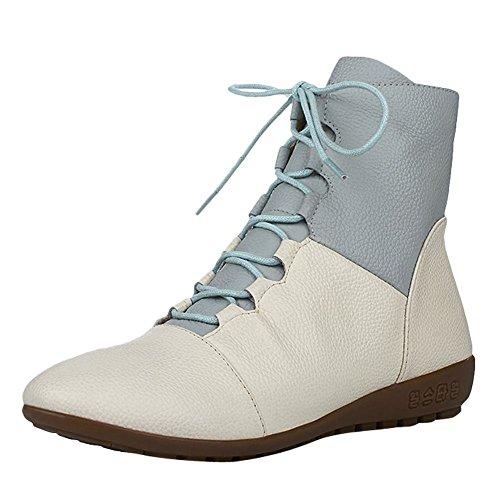 446aa6858fe2 YE Damen Flache Ankle Boots Leder Stiefeletten mit Schnürung Bequem  Freizeit Schuhe Beige