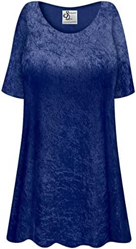 Navy Crush Velvet Plus Size Supersize Extra Long A-Line Top