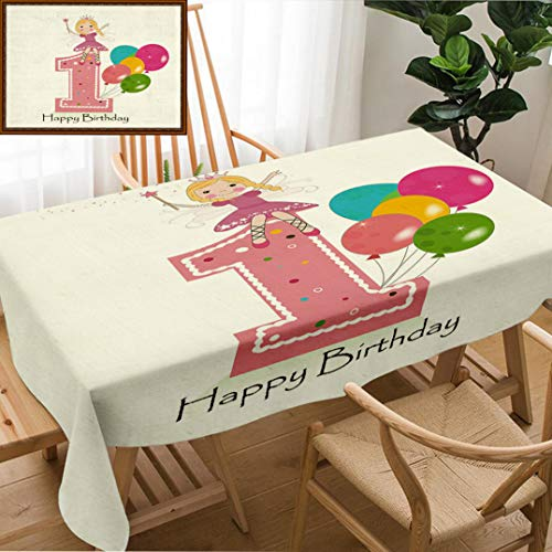 Unique Custom Design Cotton And Linen Blend Tablecloth 1St Birthday Decorations Princess Fairy Party Theme With Wish Wand And Balloons Light Pink And WhiteTablecovers For Rectangle Tables, 60