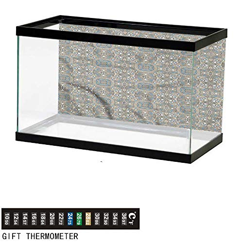 bybyhome Fish Tank Backdrop Ethnic,Persian Arabesque Flora,Aquarium Background,24