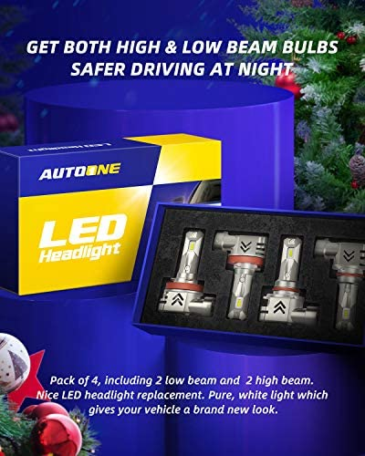 AUTOONE 9005 H11 LED Headlight Bulbs Combo 12000LM 6000K White Wireless H8/H9/H11 HB3/9005 LED Light for Low Beam and High Beam Headlamp Bulbs, Pack of four