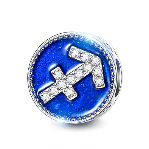 NINAQUEEN 925 Sterling Silver Blue Enamel Sagittarius Constellation Style Snap Jewelry Beads Charms for Pandöra Bracelet Anniversary Birthday Gifts for Daughter Wife Girlfriend Sister (Bracelet String Pandora)